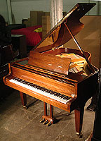 Grotrian Steinweg Grand Piano For Sale with a walnut case and polyester finish