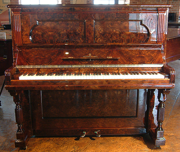 Antique Burr Walnut Steinway Upright Piano For Sale