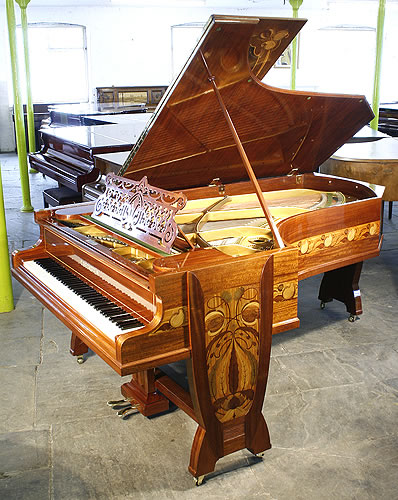 Stunning, art nouveau, Bechstein Model C grand piano with a french polished, beautiful mahogany case inlaid with a variety of woods.